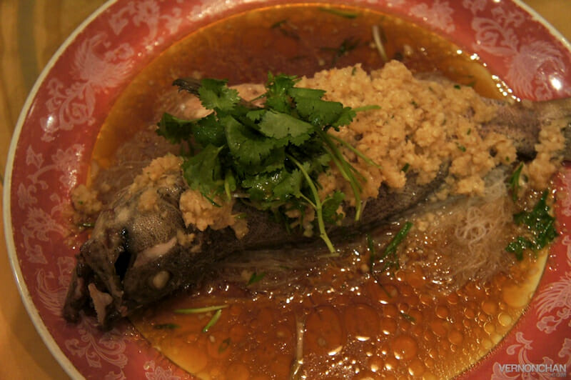 Steamed Fish Sea Garoupa with Spicy Garlic Sauce.