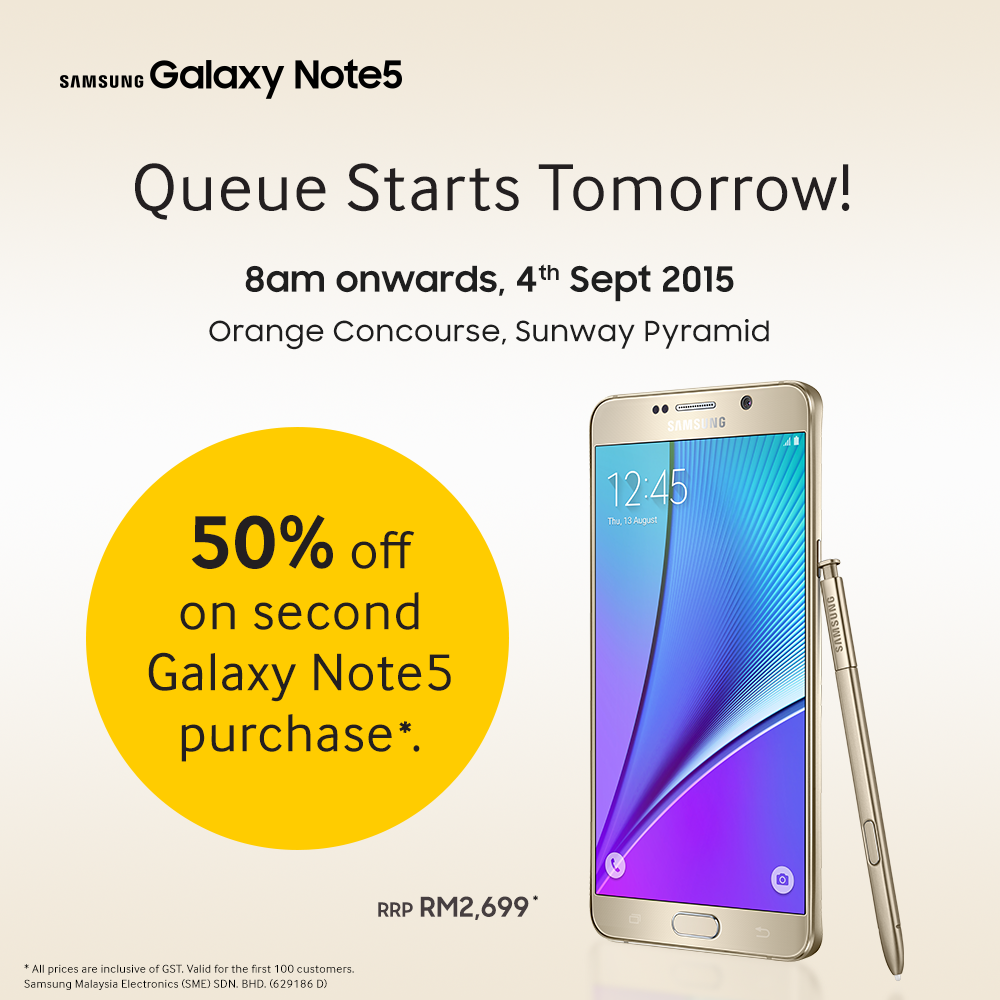 Grab a Samsung Galaxy Note5 at 50% off on 4 September 2015