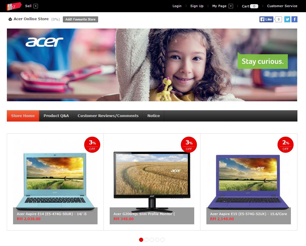 Acer Online Store goes live on Lazada and 11street.my