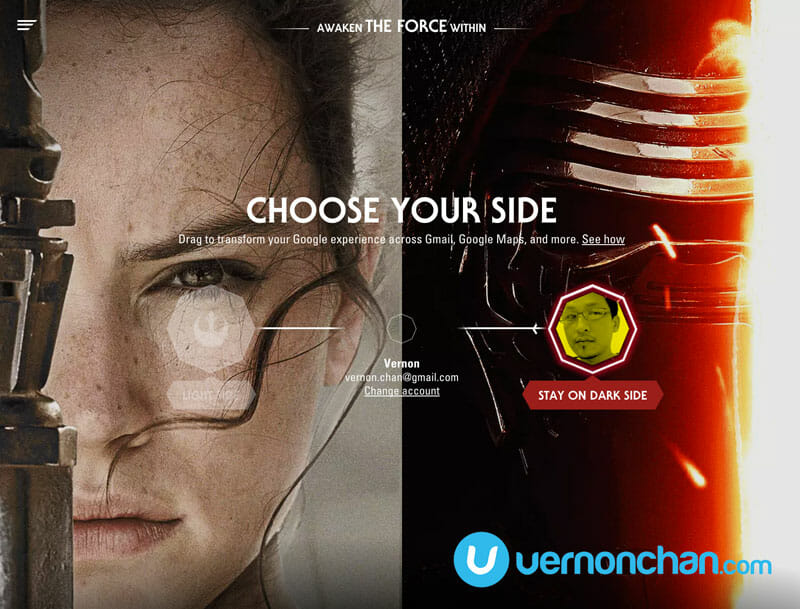Star Wars: The Force Awakens – Google wants you to choose your side