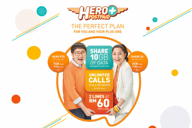 U Mobile Hero Plus Postpaid lets you share 10GB of data and unlimited calls for MYR50 extra
