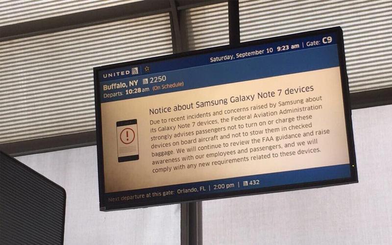 Samsung Galaxy Note7 airline