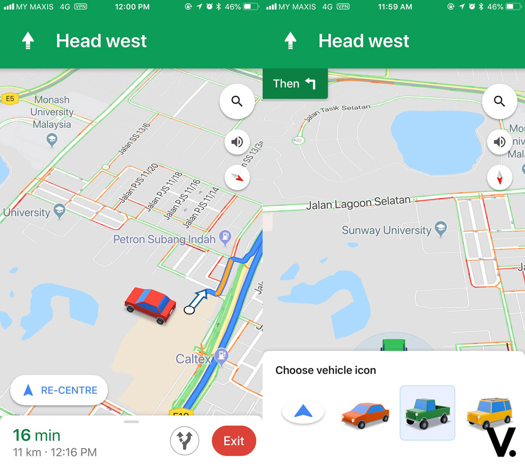 Google Maps car icon