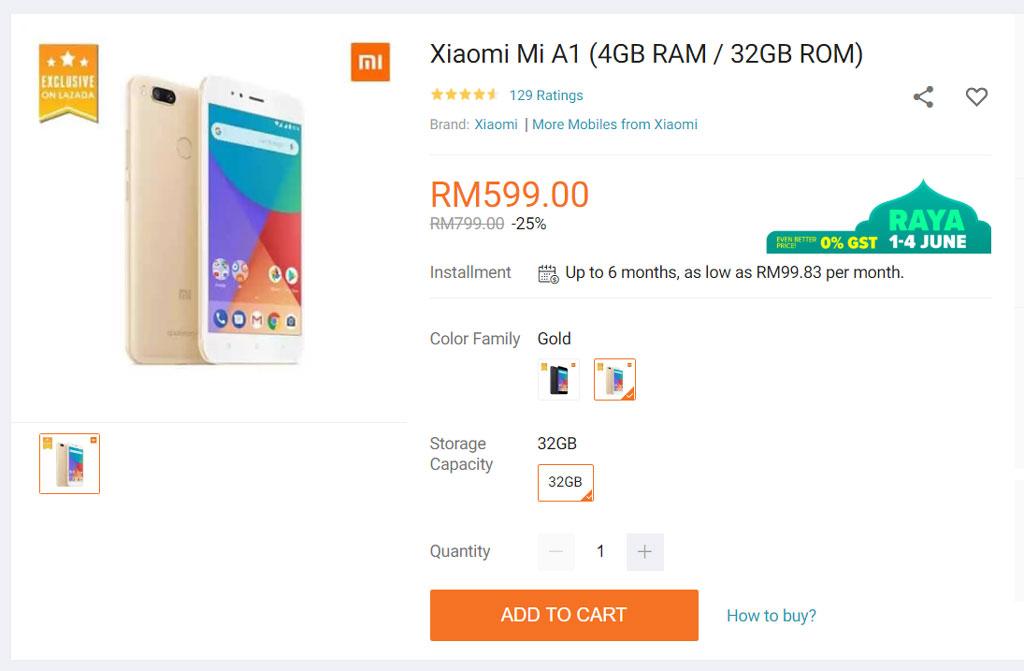 Xiaomi Mi A1 Lazada promo