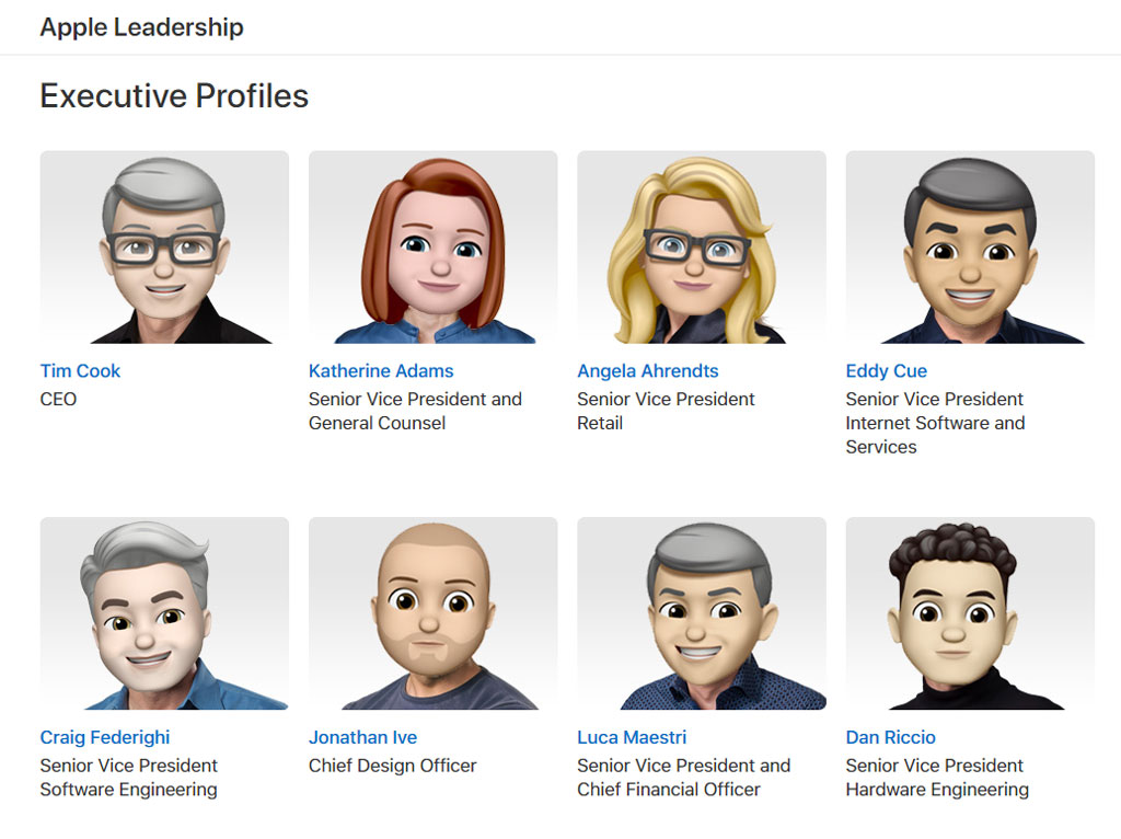 Apple leadership team memoji