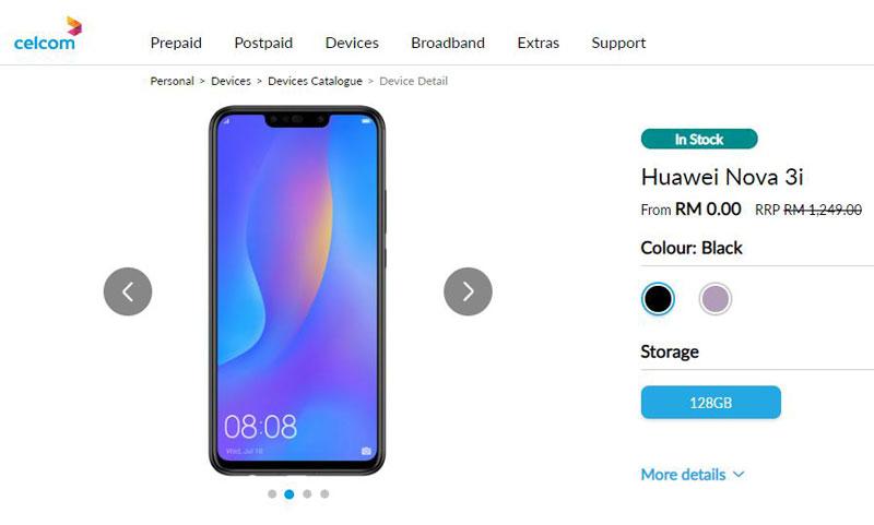 Huawei nova 3i celcom