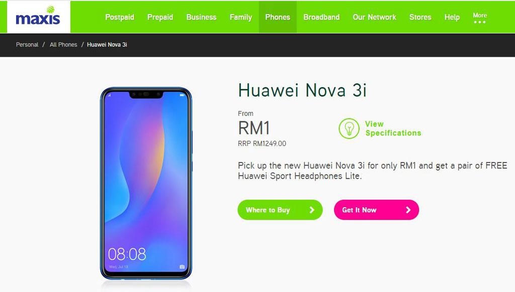 Huawei nova 3i maxis
