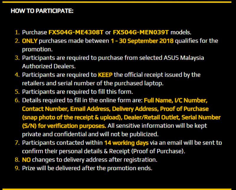 ASUS TUF Gaming Malaysia Day promo