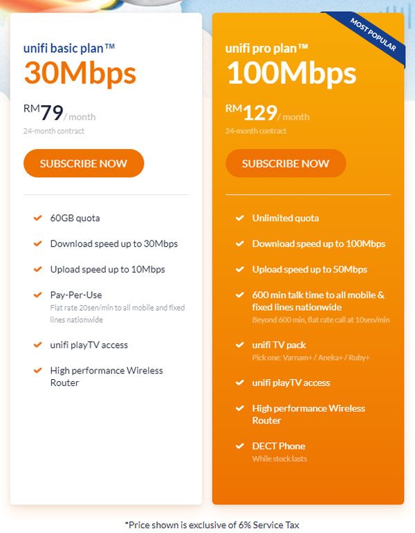 TM unifi 30Mbps 100Mbps plans