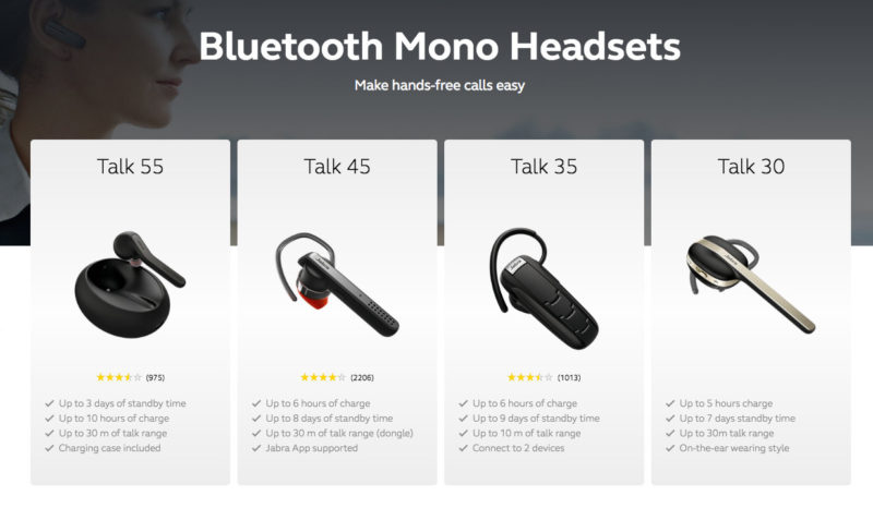 Jabra Bluetooth Mono Headsets