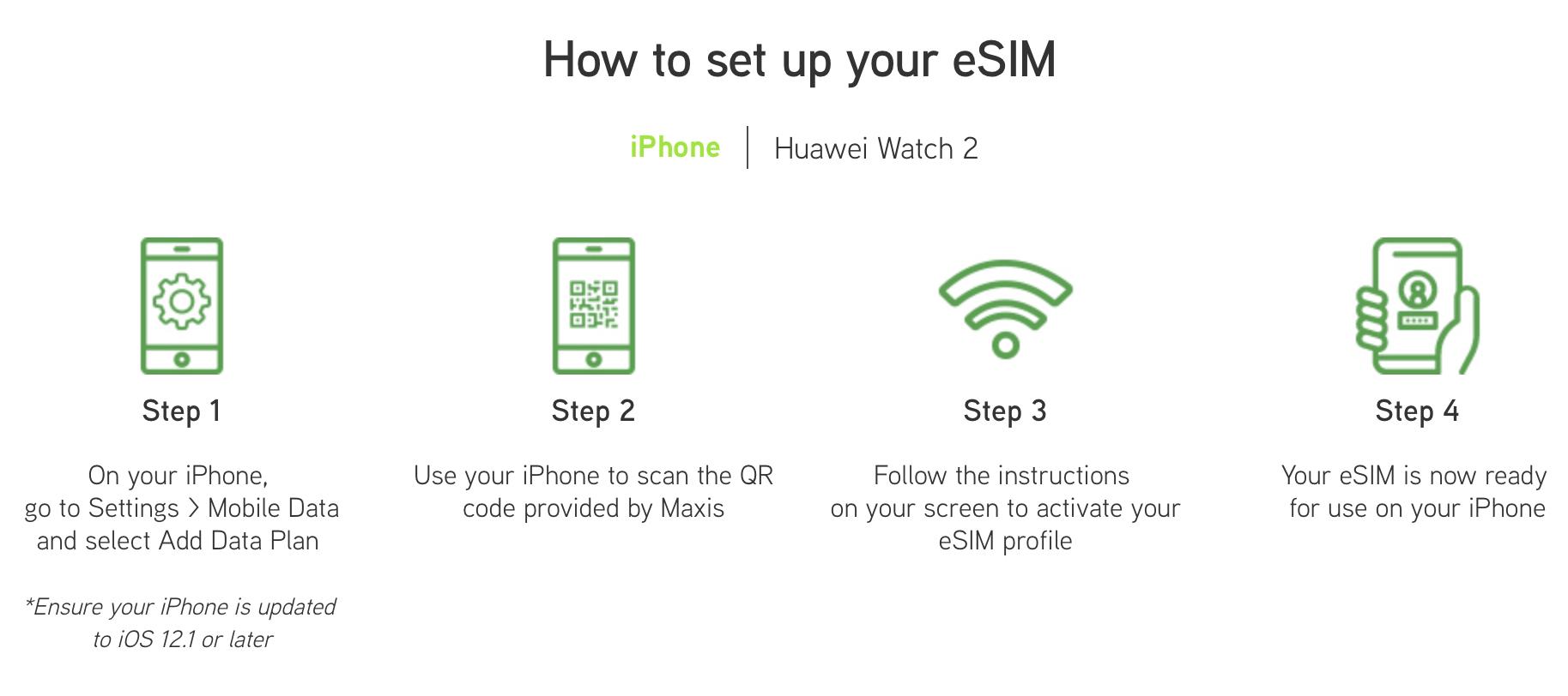 Maxis eSIM setup