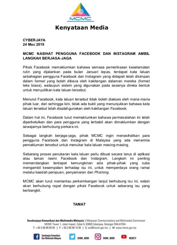 MCMC Facebook Instagram statement