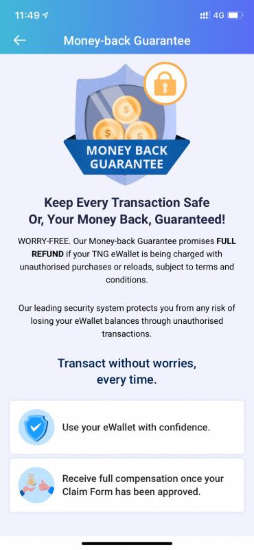 Touch 'n Go eWallet Money-back Guarantee Policy