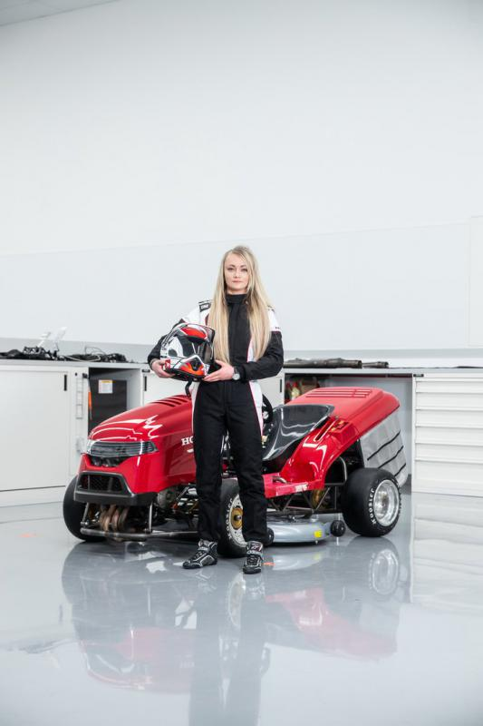 Jess Hawkins with Honda Mean Mower V2