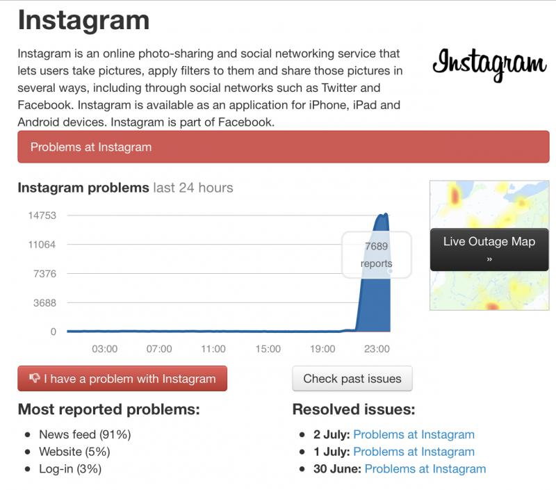 Instagram down outage