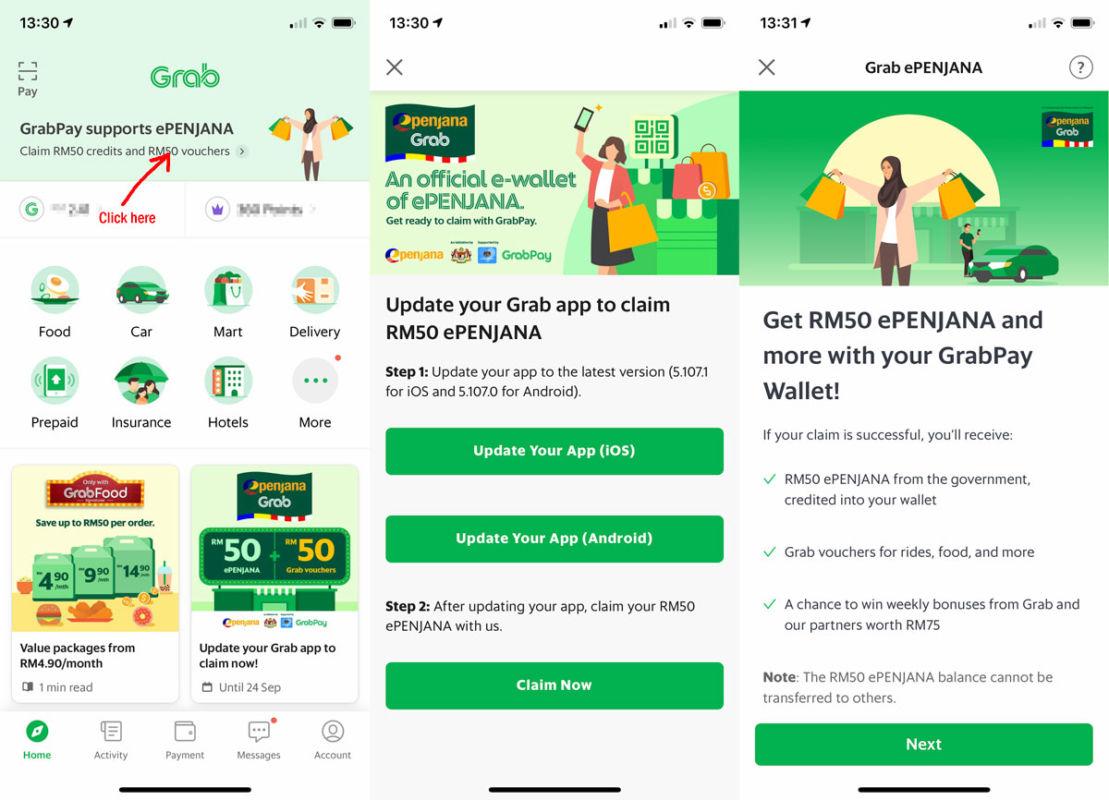 ePenjana e-wallet GrabPay