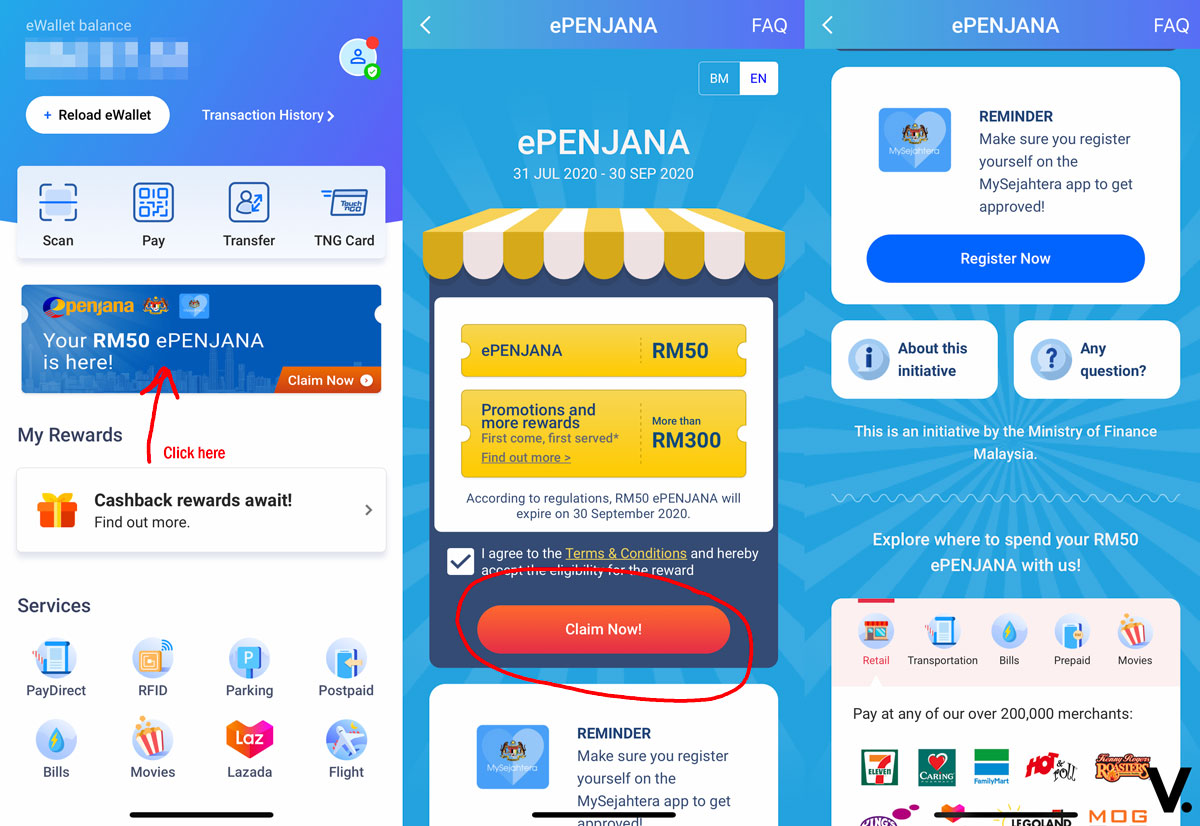 Epenjana How To Redeem Your Myr50 E Wallet Credit From Touch N Go Ewallet
