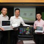 Johnson Seet, Head of Mobile Notebook and Smart Handheld; Jerry Soon, Head of Consumer Desktop and Peripherals and; Jeffrey Lai, Product Manager for Mobile Notebook and Smart Handheld.