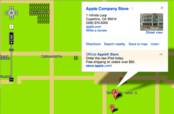 Google Launches 8-bit Google Maps for NES. Brilliant.
