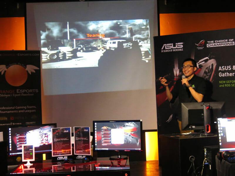 Hugo Hsu of NVIDIA explaining G-SYNC