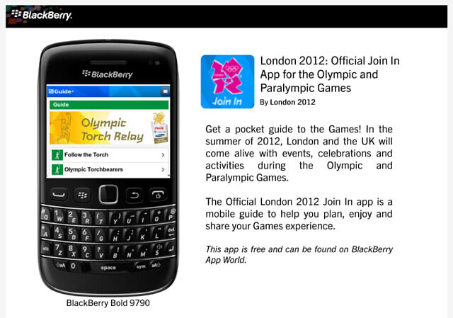 Olympics-apps for BlackBerry