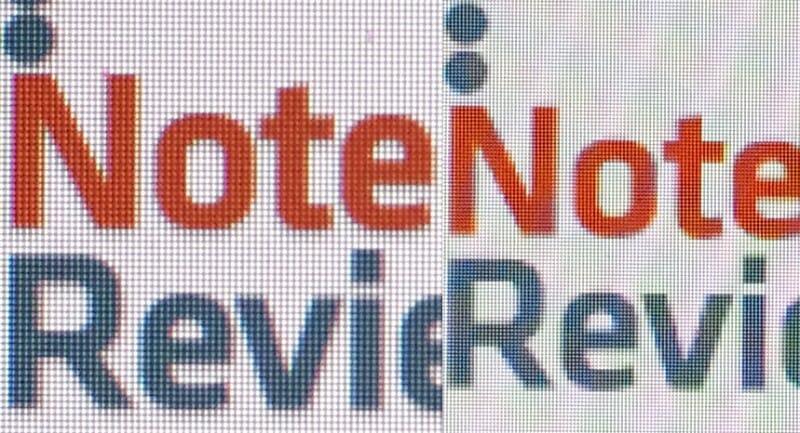 Retina Display vs Non-Retina Display. Image credit: Notebookreview.com