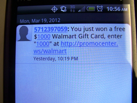 Walmart text scam photo