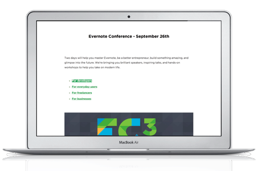 Evernote for Mac Presentation Mode