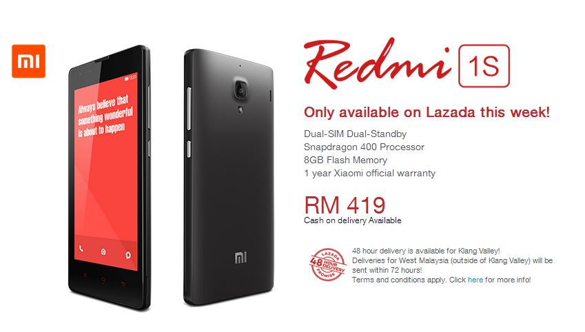 Buy the Xiaomi Redmi 1S from Lazada at 3pm, 27 August 2014