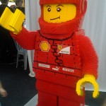 "Legoman says ""Hi"" with huge grin on face."