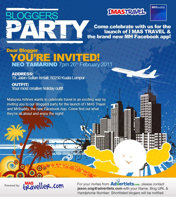 MAS Traveller Bloggers Party Here We Come!