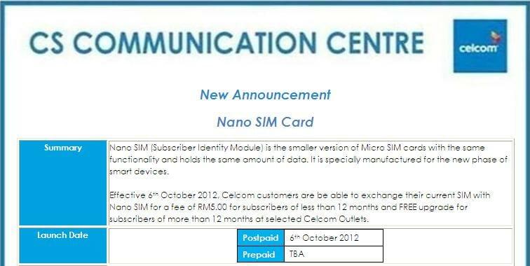 Celcom nano-SIM. Image credit: iHelpBoard