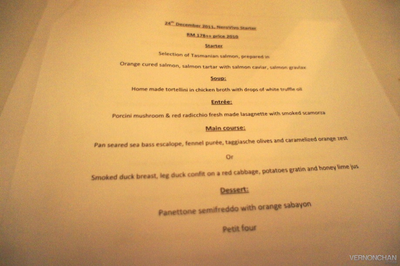 Nero Vivo Christmas Eve Menu Review