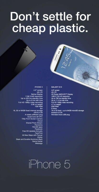 "Samsung vs Apple ad: ""Don't settle for cheap plastic"". Image credit: Gizmodo"