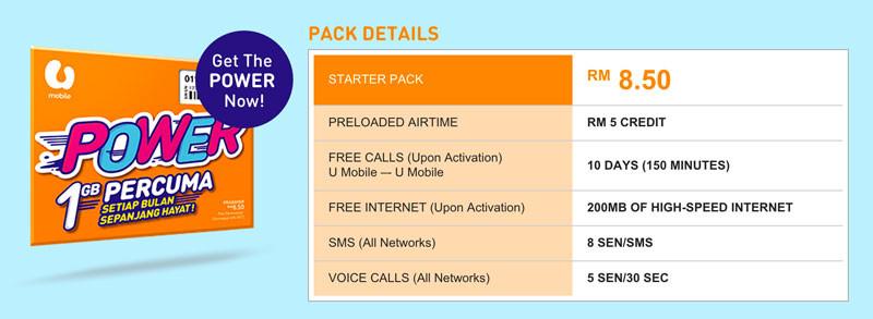 U Mobile Power Prepaid Pack