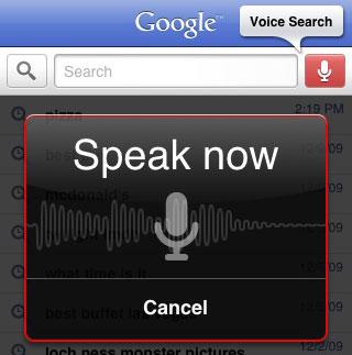 Google Voice Search. Image credit: Google